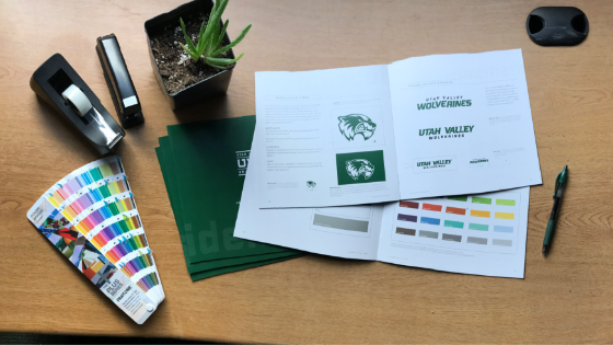 UVU marketing materials including printed style guide