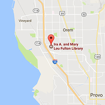 Map of the location of the Fulton Library, where the Roots of Knowledge resides.